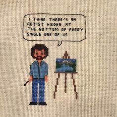 8 Bit Bob Ross cross stitch pattern now in my etsy shop. Happy little trees. The joy of painting.