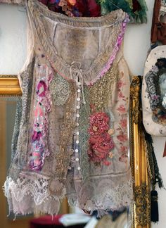 Pastorale  -unique shabby chic bodice, textile collage with antique lace, sequins, beading, altered bodice, wearable art