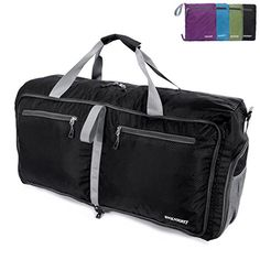ENKNIGHT 55L 75L Travel Waterproof Foldable Duffel Bag Luggage Bag Sports Gym Bag Black ** Read more reviews of the product by visiting the link on the image.