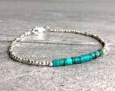 Real Turquoise Bracelet | Tiny Bead Bracelet | Sterling Silver Turquoise Crystal Jewelry | Men's, Women's Custom Size Stacking Bracelet