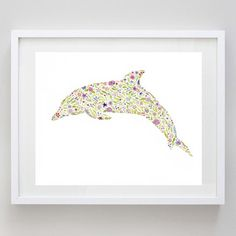 """Floral Purple Dolphin - Print of Original Watercolor Painting 8 x 10"""" on Etsy, $18.00"""