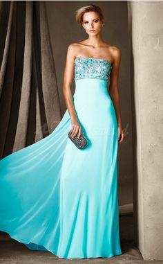 Medium Turquoise Chiffon,Lace A-line Strapless Long Prom Dresses (JT1808)