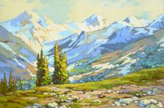 Mountain Vista, acrylic I remember when we first moved to Calgary, Alberta in 1968 from a seaside town in England. Amanda Jones, Landscape Paintings, Landscapes, Seaside Towns, Canadian Rockies, Community Art, New Tattoos, Mountains, Drawings