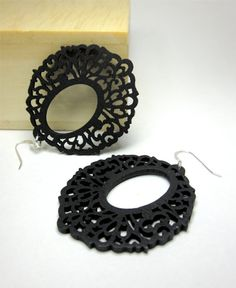 Laser Cut Wood Filigree earrings in black lace 3 by CambaJewelry, $13.00