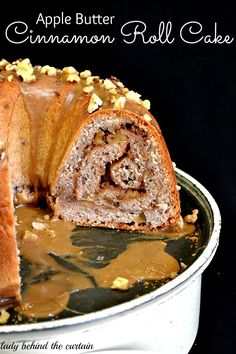 Bring in Fall with this spectacular apple butter cinnamon roll cake!  Filled with walnuts, my homemade slow cooker apple butter and