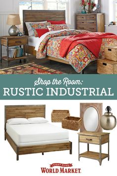 Combine industrial and rustic elements to create a warm and inviting bedroom teeming with rugged charm. Shop this room and many more at Cost Plus World Market!