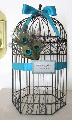 peacock wedding card holder