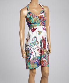 Another great find on #zulily! Teal Paisley Cutout Empire-Waist Dress by Neesha #zulilyfinds