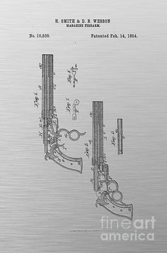 1875 colt peacemaker revolver patent blueprint drawing revolver 1854 smith and wesson magazine firearm gun patent art black on textured silver gray malvernweather Image collections