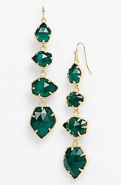 Emerald Stone Drop Earrings
