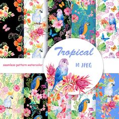 flower patterndigital paper tropical