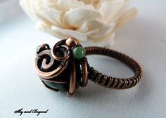 The Forest Fairy - Copper Ring Wire Wrapped with Green Kambaba Jasper and Moss Agate, size 7