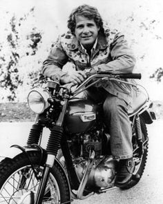 """Ben Murphy of """"Alias Smith and Jones"""" on his Triumph motorcycle in 1977. (Thanx to Terry Cutts.)"""