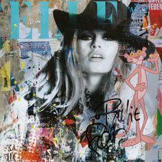 L'oeuvre unique et originale Blue BB a été réalisée par l'artiste Fabien Novarino, qui conçoit des oeuvres très contemporaines, a base de photographies d'icônes, de comics, ou encore de symboles néo pop, en utilisant du collage, des... Art Du Collage, Collage Artists, L'art Du Portrait, Abstract Portrait, Tableau Pop Art, Graffiti, Street Art, Graphic Design Art, Magazine Art