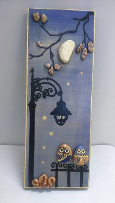 Unique pebble art gift for couple owl pebble от StefArtStone Pebble Painting, Pebble Art, Stone Painting, Stone Crafts, Rock Crafts, Diy Crafts, Caillou Roche, Hobbies And Crafts, Arts And Crafts