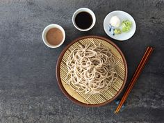 Cold soba noodles with two dipping sauces: one made of dashi and the other a homemade, lightly sweetened walnut paste. Japanese Soba Noodles, Asian Noodles, Small Food Processor, Food Processor Recipes, Asian Noodle Recipes, Asian Recipes, Easy Recipes, Summer Recipes, Sauces