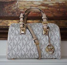 19b4e47b6f73 New Michael Kors Grayson Medium Satchel Handbag Bag MK Signature PVC Vanilla