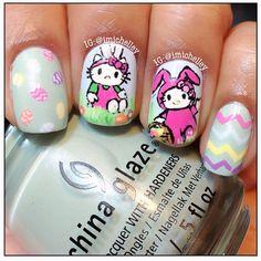 Hello Kitty Easter bunny nails
