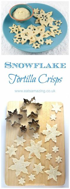 Easy snowflake tortilla crisps recipe - a fun healthy snack or Christmas party food idea for kids from Eats Amazing UK