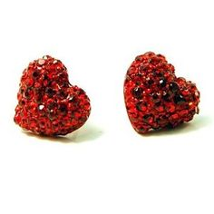 Red Crystal Small Heart Stud Earrings.
