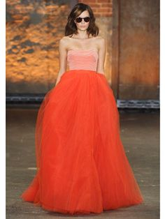 Christian Siriano;  The Project Runway alum's flair for drama was in full force, but we tend to prefer his more understated — if you can even call it that! — pairings of T-shirts and skirts. The one exception? The palette behind this striped-top-and-tulle-skirt number; Spring Collection 2012