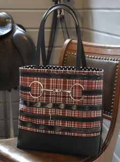 Red Plaid Black Rein & Snaffle Tote. Great Equestrian Gift. http://www.decopony.com/designer-bags/laced-reins-red-plaid #Equestrian Fashion #Equestrian Style #Dressage $90