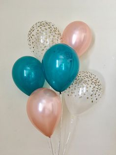Rose Gold Teal and Clear Gold Confetti Latex Balloons~Birthday~Wedding~Bridal Shower~Rose Gold Balloon~Bachelorette~First Birthday~Teal Rose