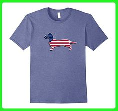 Mens Dachshund USA Flag Shirt Dog Funny 4th of July Outfit Top Small Heather Blue - Holiday and seasonal shirts (*Amazon Partner-Link)