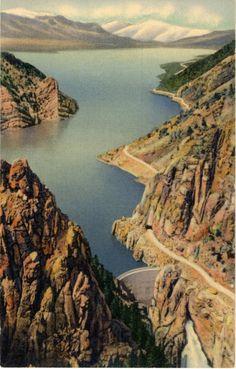 Shoshone Dam & Lake on Cody Road Eastern Entrance Yellowstone National Park Wyoming Vintage Postcard. $5
