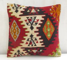 Kilim Pillow Cover Tribal Decorative Toss by PillowTalkOnEtsy, $48.00