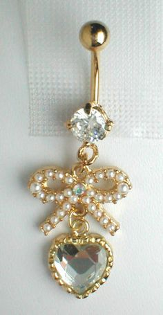 Unique Belly Ring Trendy Pearl Bow and Crystal Heart | eBay