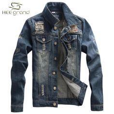 Men's Denim Jacket New Arrival Fashion Stand Collar Four Season Casual Solid Chaquetas Hombre M-3XL Size Dark Blue Color MWJ1247
