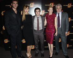 Liam Hemsworth, Jennifer Lawrence, Josh Hutcherson, Elizabeth Banks, and Gary Ross at the Paris premiere of The Hunger Games today at Cinéma Gaumont Champs-Elysées Marignan.