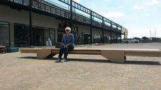Mega Centre delivery of the benches. Frank Böhm Studio.