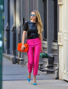 Sexy Date Night Outfit Idea: Shop Gigi Hadid's Hot Pink Pants Outfit For Less