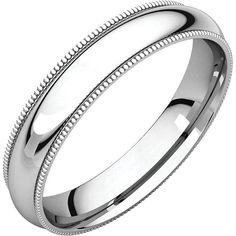 14K White Gold 4mm Comfort Fit Milgrain Band Wedding Ring Custom Engraved Personalized CKLMGR