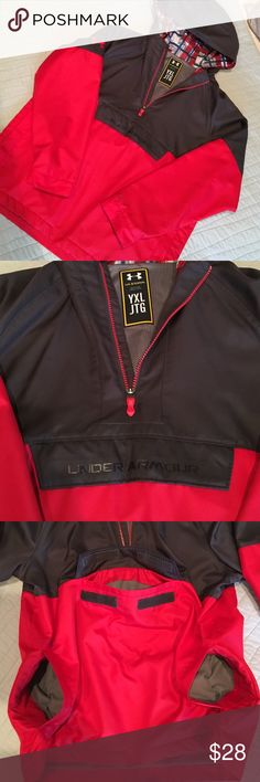 Under Armor rain pullover. NWOT. YXL Under Armor rain pullover. NWOT. YXL front kangaroo pocket and side pockets. Nice jacket. Under Armour Jackets & Coats Raincoats