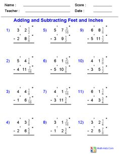 Adding and Subtracting Fractional Feet and Inches with Borrowing Worksheets