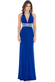 c5d5ad74ad74 Goddiva Womens Jewelled Waist Maxi Dress Royalblue Party Evening Cocktail  Ladies