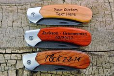 One Custom Engraved Pocket Knife - Wooden Handle - (Choose Wood Type) - Groomsmen Gift - Father Gifts For Husband, Gifts For Father, Custom Engraving, Laser Engraving, Custom Guitar Picks, Handmade Wooden, Handmade Gifts, Engraved Pocket Knives, Steel Frame Construction