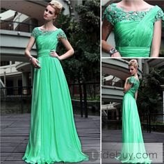 Charming Princess A-line Short Sleeves Sashes Floor-length Evening Party Dress : Tidebuy.com