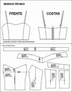 moldes de top cropped - Pesquisa Google Corset Sewing Pattern, Dress Sewing Patterns, Diy Clothing, Sewing Clothes, Fashion Sewing, Diy Fashion, Crop Top Pattern, Lingerie Patterns, Diy Tops