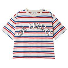 Topten Woman Los Angeles Santa Monica California Stripe Crop Top T Shirt   eBay