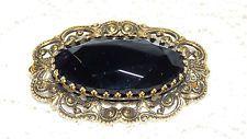 Vintage FREIRICH Gold Tone Black Glass Stone Oval Brooch/Pin  O05