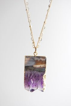 Kaiaka necklace - 24kt gold edged raw amethyst slice necklace, gold filled layering necklace, gold dipped, geo druzy necklace, maui, hawaii. $89.00, via Etsy.