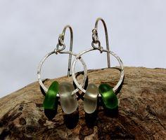 Hawaiian Small Emerald Green Beach Glass & Clear Beach Glass on Hammered 925 Sterling Silver Circular Wire Small Hoop Earrings by LindseysBeachGlass, $50.00