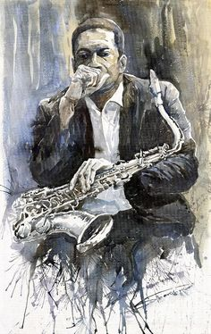Jazz Saxophonist John Coltrane yellow Painting by Yuriy Shevchuk - Jazz Saxophonist John Coltrane yellow Fine Art Prints and Posters for Sale