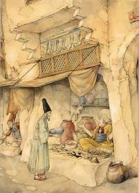 Anton Pieck (Dutch artist) 1895 - 1987 An Illustration For 'The Arabian Nights'; The Night, The Story Of Mole; Sjamseddin Visiting A Chemist, s. Night Illustration, Anton Pieck, Fairytale Art, Dutch Artists, Vintage Artwork, Arabian Nights, Illustrations And Posters, Oriental, Fairy Tales