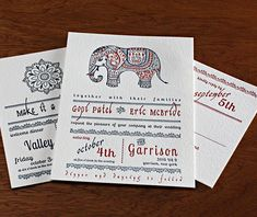 This elephant inspired Indian design is a modern look for any couple wanting to have a little fun with their wedding stationery! Gopi | Invitations by Ajalon | invitationsbyajalon.com