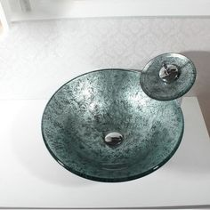 Modern Fashion Round Tempered Glass Basin Faucet Set